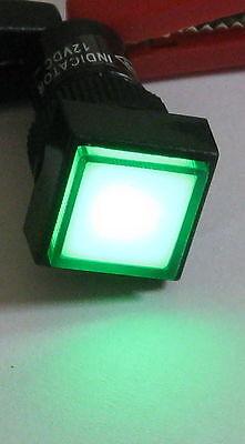 Panel Mount Square Led Indicator - Green - 12mm Lens Plastic Case - 3 To 12 Vdc
