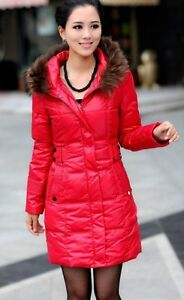 Hot Women's Winter Noble Trendy Warm Jacket Slim Fur Collar Duck Down Coat M-3XL