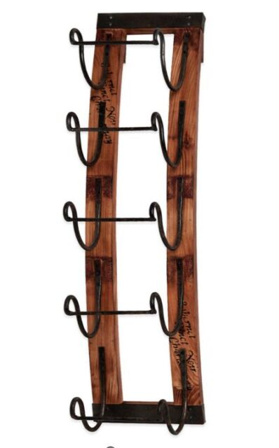 Wall Mount Decor 5 glass bottle hanging wine holder rack wall mount display rustic