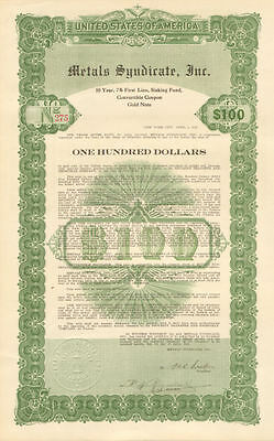 Metals Syndicate > 1925 New York gold bond certificate $100 note with coupons