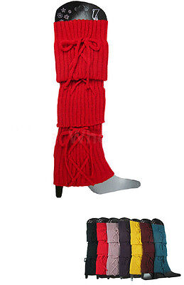 Women Leg Warmers Laced Tie Knit Bow Knit Stretchy Slouchy Boot Cuff US SELLER Knit Stretchy Leg Warmers