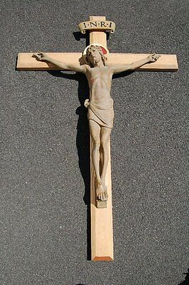 "+ Nice larger Wood Carved Crucifix + 56 1/2"" tall cross"