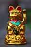 Chinese Lucky Waving Cat Beckoning Maneki Neko Gold Wealth Fortune Feng Shui