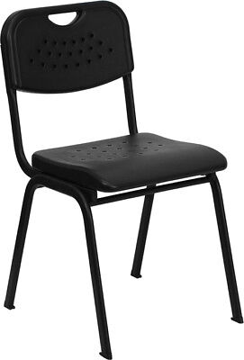 Black Plastic Stack School Chair With Black Powder Coated Frame - Student Chair