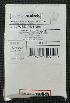 Sensorswitch Wsd Pdt Wh Motion Detector Switch 800w Dual Technology White New
