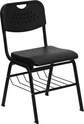 Heavy Duty Black Plastic School Chair With Book Rack - Class Room Chair