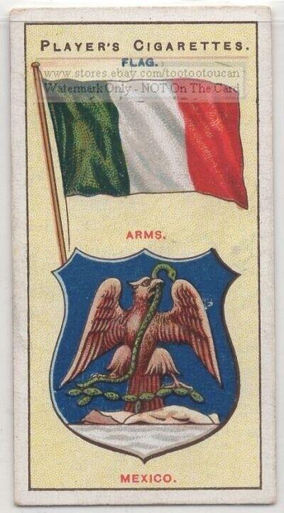 Mexico Flag Banner Emblem Latin America 110+ Y/O Ad Trade Card