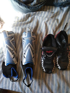 Children's size 3 soccer shoes and shin guards