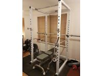 AMAZING HOME GYM: Power Rack - Olypmic 170kg weights + Olympic Bar - EZ curl bar - Dumbbells - Bench