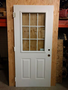 "White 36"" steel door with glass"