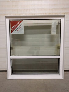 two white single hung windows