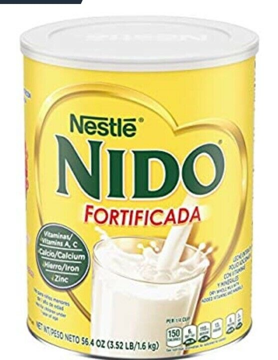 One 1 Leche NESTLE NIDO Fortificada Dry Milk 3.52 Lb. 56.4 Ounce Canister