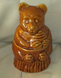"'TEDDY BEAR' shaped China Storage Jar/Canister, Brown, 7"" high 4"" dia base, lift off top, g.c."