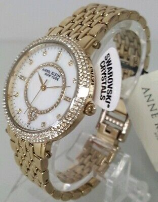 Anne Klein 12/2312MPGB Women's 37mm Gold Tone Crystal Accent Watch  *NWT*