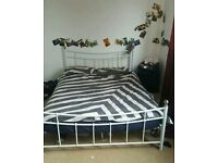 White metal double bed frame