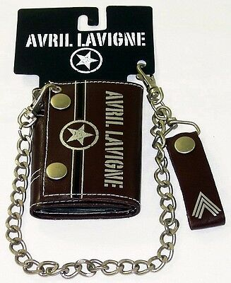 AVRIL LAVIGNE Chain Wallet Tri-Fold Brown Authentic Licensed NEW