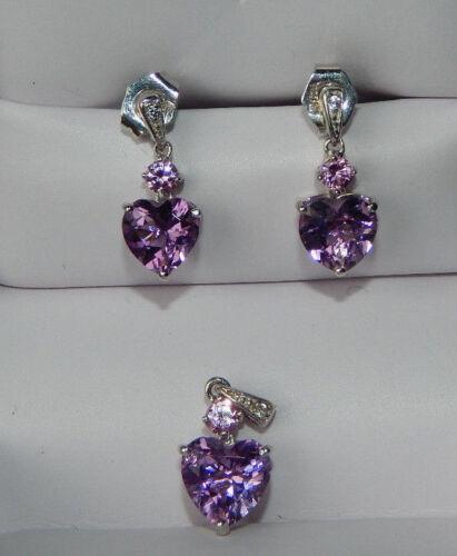 Helzbergs Purple  Heart Sterling Silver Purple  Earrings Pendant Set