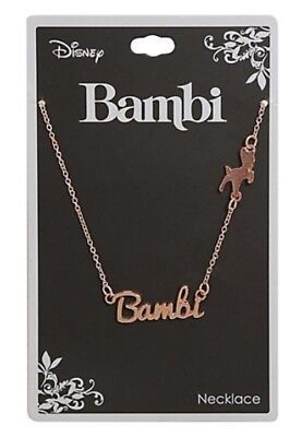 Disney Bambi Rose Gold Tone Name Plate Necklace New With Tags!