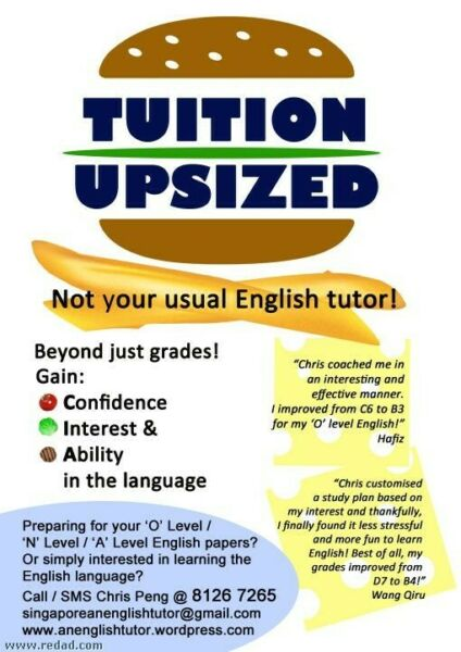 GCE 'O' Level/ 'N' Level/ PSLE English Tuition/Online or in person