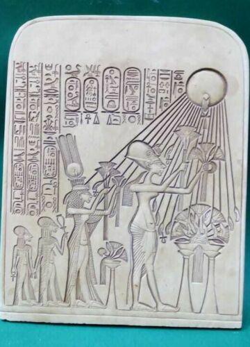 Ancient Egyptian Antique Stela King Akhenaten And Family Worshipping Aten 2630BC