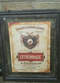 Glass french vintage framed poster