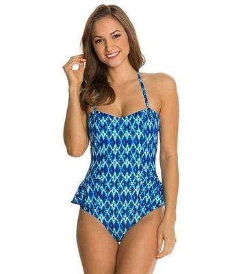 Jessica Simpson Swim Ikat-Print Peplum Bandeau One-Piece Swimsuit Sz XL si2 (Peplum One Piece Swimsuit)