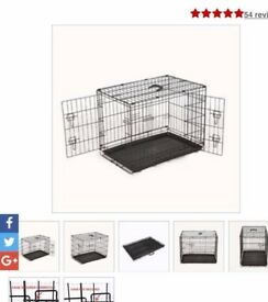 Dog Cage, Extra Large, Black Metal, Collapsible, VGC