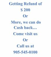 Personal Tax $29.99,  getting back $200  we can do cash back