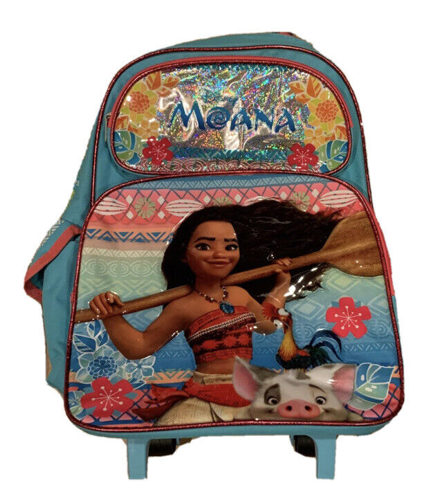 "Disney Moana 16"" Backpack Roller Large Backpack Moana Rolling Backpack NEW"