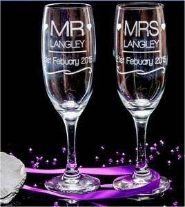 Personalised Engraved Champagne Flutes Glasses MR and MRS, Wedding, Blue box