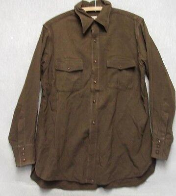 1940s Men's Shirts, Sweaters, Vests S2166 1940's Vintage Towncraft Brown w/ Wood Buttons Shirt Gabardine, Gussets $174.99 AT vintagedancer.com