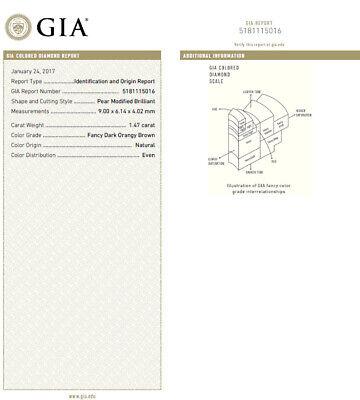 GIA Certified 1.47ct Natural Fancy Orange Brown Diamond Halo Ring  14 Karat 10