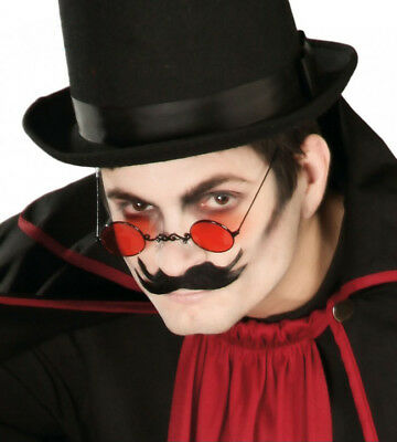 Gothic Vampire Glasses Red Lens Halloween Fancy Dress Costume Spectacles NEW](Halloween Costume Red Glasses)