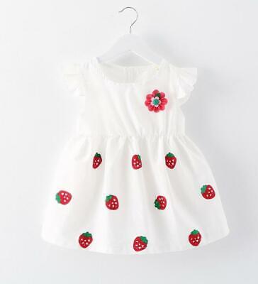 White Cotton Flower Girl Dresses (new Newborn Baby Girl Toddler Strawberry Flower White Dress Summer Cute)