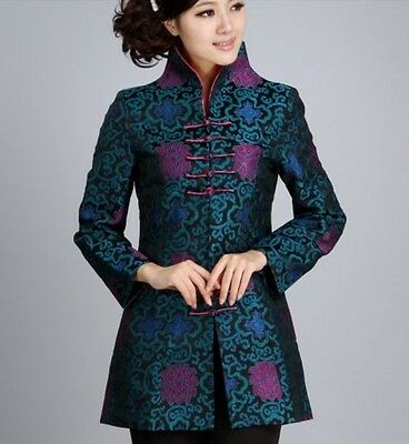 Charming Chinese Women's Silk/satin jacket /coat Blue Sz 8 10 12 14 16  Chinese Silk Coat Jacket