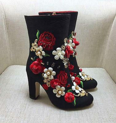 Womens Embroidery Floral Rhinestones Ankle Boots High Heel Chunky Rose Shoes N52