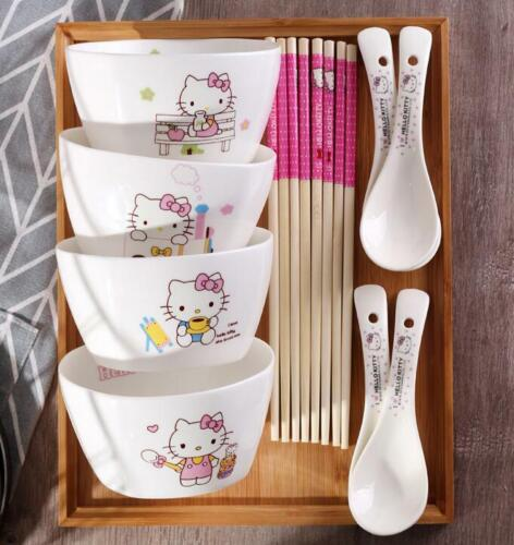 "Cute 4"" 4pcs Hello Kitty Ceramic Rice Soup Bowl Kitchen Tableware c/w 4 Spoons"