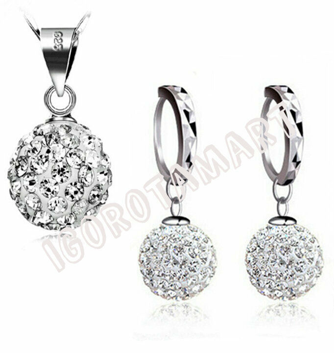 Jewellery - 925 Sterling Silver Girl Lady Gift Set Jewelry Cubic Zircon Necklace Earring UK