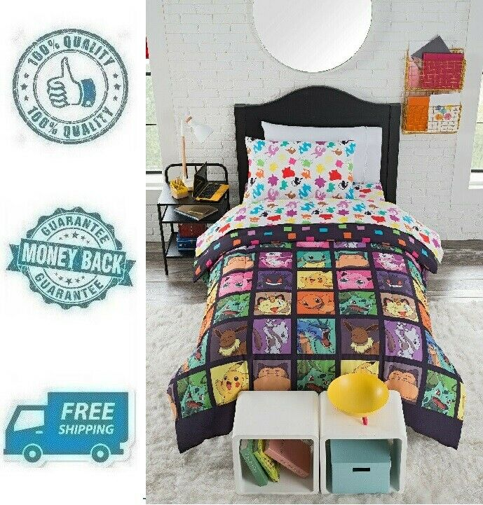 New 4pc Twin Pokemon Bed in a Bag Comforter Bedding Sheet Pi