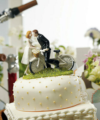 A Kiss Above Bride And Groom Bicycle Porcelain Wedding Cake Topper
