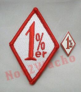 Outlaw Biker Red and White 1%er One Percenter Patch and Pin Combo