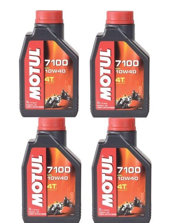 Motul 7100 100% Synthetic 4-Stroke Motor Oil 10W-40 1 Liter Bottles