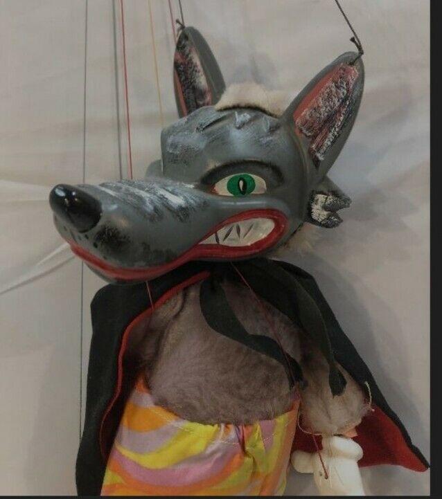 "Vintage 1960s Pelham Puppet WOLF  Toy Marionette 14"""