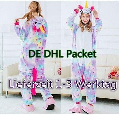 Tier Einhorn Overalls Erwachsene Kostüm Kigurumi Pyjama Schlafanzug Jumpsuit DE
