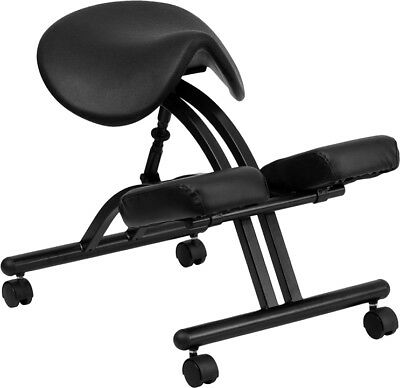 Ergonomic Kneeling Chair With Black Saddle Seat - Wl-1421-gg