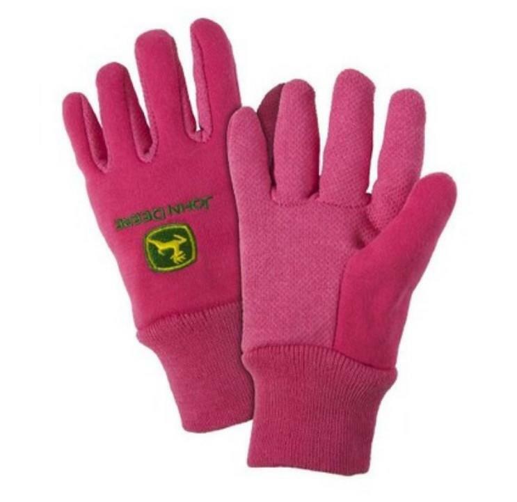 LP42388 John Deere Licensed Youth Light-Duty Cotton Grip Gloves Pink