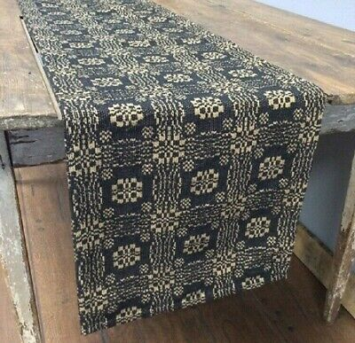 "BLACK TAN WOVEN TABLE RUNNER 72"" x 15"" GETTYSBURG Primitive Farmhouse Rustic XL"