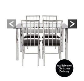 Vienna 120cm Glass Dining Table + 4 Chairs Black ( Flat Pack ) 50% OFF