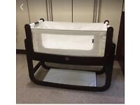 Immaculate condition. Snuzpod2 espresso with mattress, straps, fitted sheet and blanket rrp £250