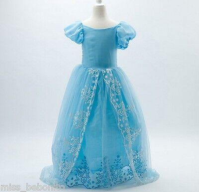 Cinderella Princess Girl Long Fancy Dress Disney Cartoon Costume Birthday Gift ()